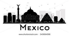 Mexico City skyline black and white silhouette. Vector illustration. Simple flat concept for tourism presentation, banner, placard or web site. Business travel concept. Cityscape with landmarks