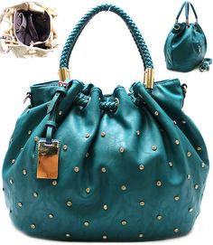 Dotted Reagan Satchel In Teal | Awesome Selection Of Chic Fashion Jewelry | Emma Stine Limited
