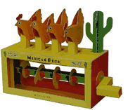 """Mexican Peck"" is a paper animation kit from Flying-Pig.co.uk...turn the handle on this cam powered model and the chickens peck one by one."