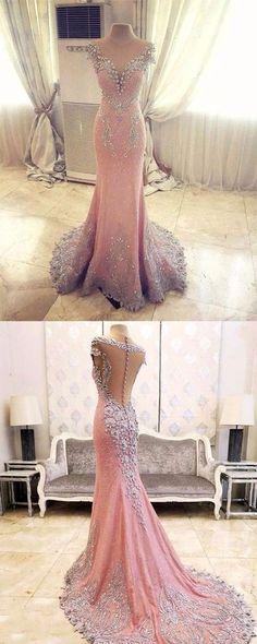 Pink Wedding Dress,Beading Wedding Dress,Floor Length Prom Dress,Mermaid Style Prom Dress,V Neck Prom Dress,Evening Dress Backless,