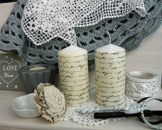 Svietidlá a sviečky - Sviečky so starým písmom - 7144675_