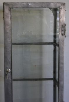 Single Industrial Metal Cabinet w/ Sliding Glass Doors | Sliding ...