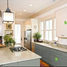 Cool light fixture and painted cabinets