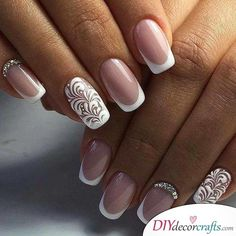 wedding nails for bride gel \ wedding nails for bride . wedding nails for bride acrylic . wedding nails for bride classy . wedding nails for bride bridal . wedding nails for bride gel Bridal Nails Designs, Manicure Nail Designs, French Manicure Nails, Bridal Nail Art, Wedding Nails Design, Manicure And Pedicure, Nail Art Designs, Manicure Ideas, Bridal Nails French