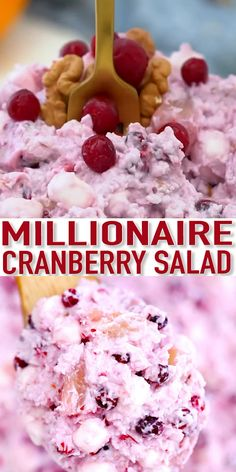 Millionaire Cranberry Salad [Video] – Sweet and Savory Meals Millionaire Cranberry Salad is the perfect sweet side dish or dessert to serve on Thanksgiving! The sweet and tart combination is a match made in heaven and will make you crave more! Fluff Desserts, Köstliche Desserts, Dessert Recipes, Jello Recipes, Fruit Salad Recipes, Fruit Salads, Shrimp Recipes, Cranberry Recipes, Holiday Recipes