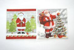Assortiment 2 Serviettes en papier Père Noël : Serviettage, Décopatch par boutique-creative-by-c-dona