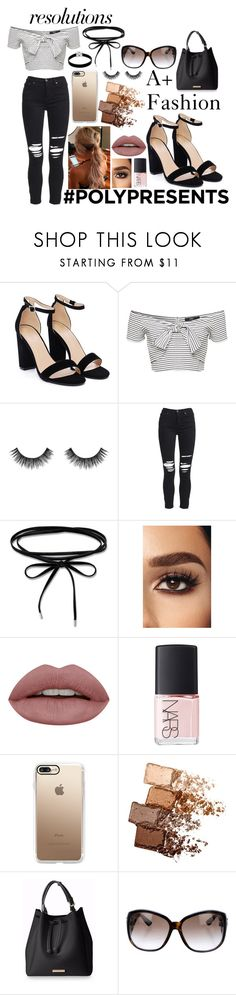 """#PolyPresents: New Year's Resolutions A+ Fashion"" by meinersk45195 ❤ liked on Polyvore featuring Nasty Gal, Velour Lashes, AMIRI, NARS Cosmetics, Casetify, Maybelline, Gucci, Unode50, contestentry and polyPresents"