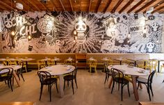Matt Woods takes a chic yet lighthearted approach to the design of this restaurant in Sydney's Canley Heights. Colorful Restaurant, Art Restaurant, Restaurant Concept, Restaurant Furniture, Bar Interior, Restaurant Interior Design, Cafe Design, Wood Design, Modern Cafe
