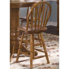 Nostalgia Traditional Oak Arrow Back Swivel Barstool