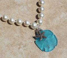 Stunning White 12 mm Pearl Necklace with Aqua Sea by InaraJewels, $47.95