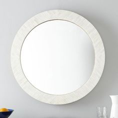 Parsons Round Mirror - Bone Inlay | West Elm - $271 on sale (less 20% is $216.80) - for above console table in entry