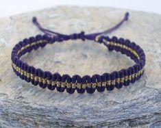 Knotted striped bracelet - simple bracelet, minimalist, purple, gold stripe, adjustable!