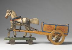 """Articulated Folk Art Nodding Horse and Cart Toy (Sold) Hand Carved and Painted Wood and Various Media  European, c.1900  7.00"""" high x 4.50"""" wide x 12.50"""" deep"""