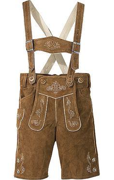Klassisch geschnittene Kinder-Lederhose von Spieth in Braun. Die Lederhose ist aus Wildleder gefertigt und mit hellen Zierstickereien versehen.