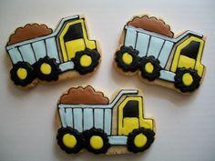 dump truck cookies Learn how to create fabulous cakes, cupcakes, biscuits &… Cookies For Kids, Fancy Cookies, Iced Cookies, Cute Cookies, Royal Icing Cookies, Cupcake Cookies, Sugar Cookies, Bolacha Cookies, Galletas Cookies