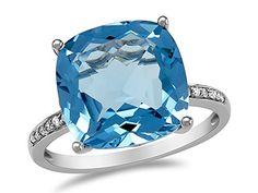 LALI Classics 14kt Swiss Blue Topaz Cushion Ring