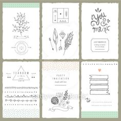 Hand drawn collection of romantic invitations. Wedding, bridal, birthday,Vector