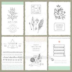Hand drawn collection of romantic invitations. Wedding, bridal, birthday,Vector