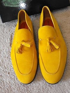 MAGNANNI Handmade Yellow Suede Tassel Loafers