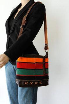 Brown Leather Shoulder Bag with Striped Textile - on model