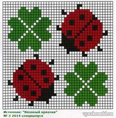 Lady bug & four leaf clover cross stitch pattern Cross Stitch Cards, Simple Cross Stitch, Cross Stitching, Cross Stitch Embroidery, Knitting Charts, Baby Knitting Patterns, Hand Embroidery Patterns, Beading Patterns, Cross Stitch Designs