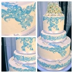 Wedding cake with henna designs www.hennagurus.com