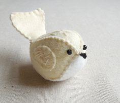 Buttercream Felt Bird Embroidered Decorative Felt Bird