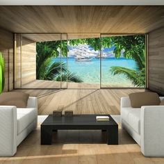 Photo Wallpaper SHIP NATURE PARADISE WINDOW EFFECT GIANT Wall Mural (3310VE)