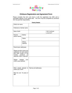 Free printable PDF format form. Child care agreement for