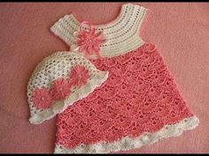 Learn How To #Crochet Strawberry Shortcake Baby Dress 18-24 months TUTORIAL # 2 part 2 - YouTube