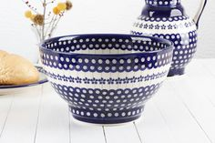 Large bowl in traditional pattern - Polish pottery