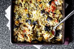 Recipe for baked orzo with eggplant and mozzarella from Smitten Kitchen. I'll bet I could use basmati rice or small brown rice pasta to make this dish gluten-free. Veggie Recipes, Vegetarian Recipes, Cooking Recipes, Cooking Tips, Healthy Recipes, Vegetarian Casserole, Casserole Recipes, Shrimp Casserole, Veggie Casserole