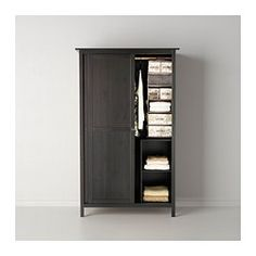"HEMNES Wardrobe with 2 sliding doors, black-brown - 47 1/4x77 1/2 "" - IKEA"