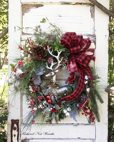 This Elegant Woodland Wreath is made on a Pine Base. I have added a Mixture of Christmas Pines, Red Berries, Icy Twigs, White Winter Berry Twigs, Small Herbs, Juniper Berries, Some Sparkly Silvery Gold Twigs and Faux Boxwood with Cream Berries. I have added a Beautiful Silver Christmas Wreaths For Front Door, Christmas Door Decorations, Christmas Themes, Christmas Holidays, Winter Wreaths, Christmas Stuff, Winter Holidays, Holiday Ideas, Elegant Christmas
