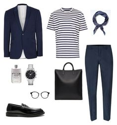 """Untitled #40"" by rayensulistiawan on Polyvore featuring Topman, Banana Republic, A.P.C., Dr. Martens, Gucci, Yves Saint Laurent, Emporio Armani, men's fashion and menswear"