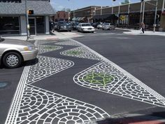 Decorative crosswalk - by Globe Asphalt Paving Landscape Architecture, Landscape Design, Urban Landscape, Walkable City, Pedestrian Crossing, Street Art, Paving Design, Zebra Crossing, Street Painting