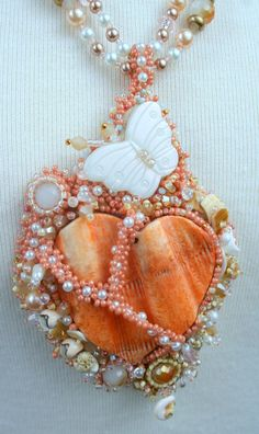 Summer Love- Heart shaped shell, pearl, crystal , and seed bead woven necklace