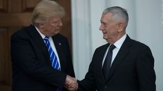 Thursday, Dec. 1, 2016 - President-elect Donald Trump will nominate retired Marine Gen. James Mattis as his secretary of defense, he announced Thursday in Cincinnati at the beginning of his post-election tour.