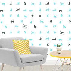 Vinilo decorativo Gatos.  Llena tus paredes del universo felino con este original y divertido vinilo decorativo de gatos. DISFRÚTALO EN NUESTRA WEB: http://dolcevinilo.es/vinilo-gatos