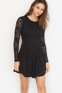 Lace Long Sleeve Skater Dress.