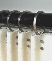 50mm black lacquered pole with unique pleating rings & two small rivets