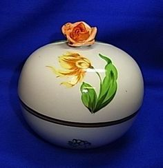 Vintage Hungary Herend Porcelain Box with Rose and Handpainted Flowers #^1