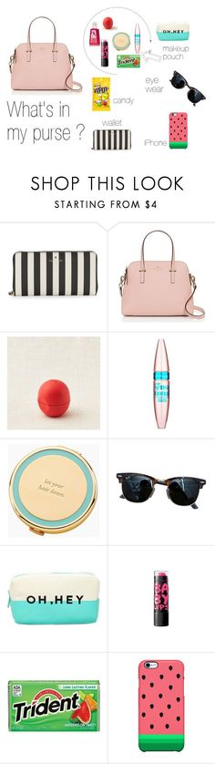 """What's in my Purse?"" by tasyajane on Polyvore featuring Kate Spade, Aerie, Maybelline, Ray-Ban, Forever 21 and Uncommon"
