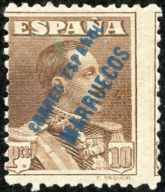 """Spanish Morocco  1929-34 Scott 128 10p brown Stamps of Spain, 1922-31 Overprinted Type """"a"""" in Blue"""