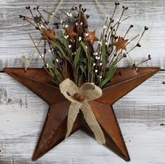 "Texas Star Floral Arrangements Pip Berry Basket Rustic Country Farmhouse 15"" dia #MarketStreet"