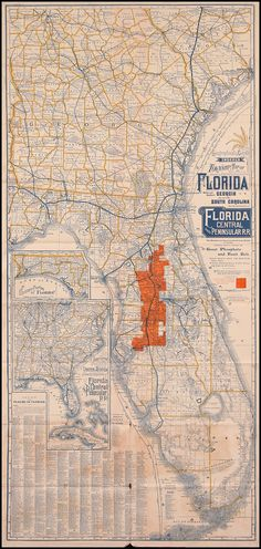 Geographically Correct Indexed Township Map of Florida (1892)