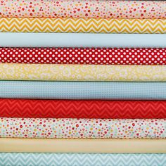 Red/Yellow/Aqua fabric bundle, 1 FQ each of 10 fabrics via Etsy