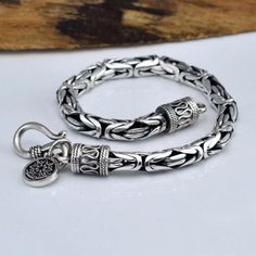 V.YA Genuine 100% Pure 925 Sterling Silver Thick Men's Bracelet