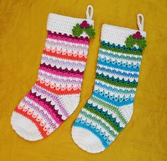 This stocking is sparkly, festive and fun to make! I know this pattern might look a little intimidating because it has so much going on, but I assure you it's actually pretty simple (it's mostly double crochets) and surprisingly quick to make! Since you only need a small amount of each yarn (aside from the main color), it's a great project for using up the ends of skeins that you have laying around!