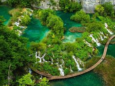 The Best Places To Visit In Croatia: View of waterfalls in Plitvice Lakes National Park